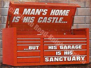 Vintage Garage, 54 Mechanic Tool Box, Old Car Chest Funny, Large Metal Tin Sign