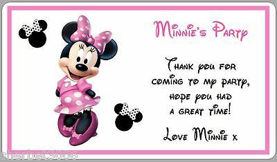 10 Large Personalised Stickers Minnie Mouse Pink Spots Party Thank You  Labels