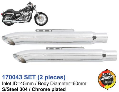 Motorrad Auspuff Schalldämpfer Satz Edelstahl Verchromt fur Chopper 170043 Set