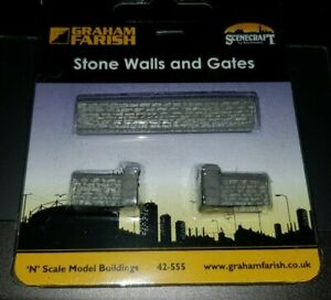 N-Gauge-Bachmann-Graham-Farish-42-555-Stone-Walls-and-Gates-Building-model