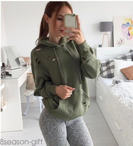 2017 Women Sweatshirt Hoody Ripped Hole Jumper Hoodie Pullover Outwear Coat 50