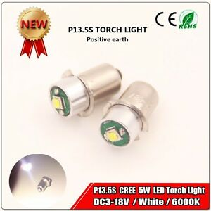 2x Ryobi 3 18 Volt Dc Flashlight Replacement P13 5s 5w Led