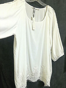 NWT-SOLITAIRE-Peasant-Blouse-Shirt-Tunic-Top-Plus-Size-3X-White-Lace-3-4-Sleeve