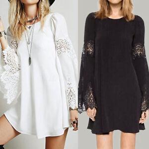 e3abe744ffaa Women's Long Bell Sleeve Lace Crochet Long Shirt Dress Summer Party ...