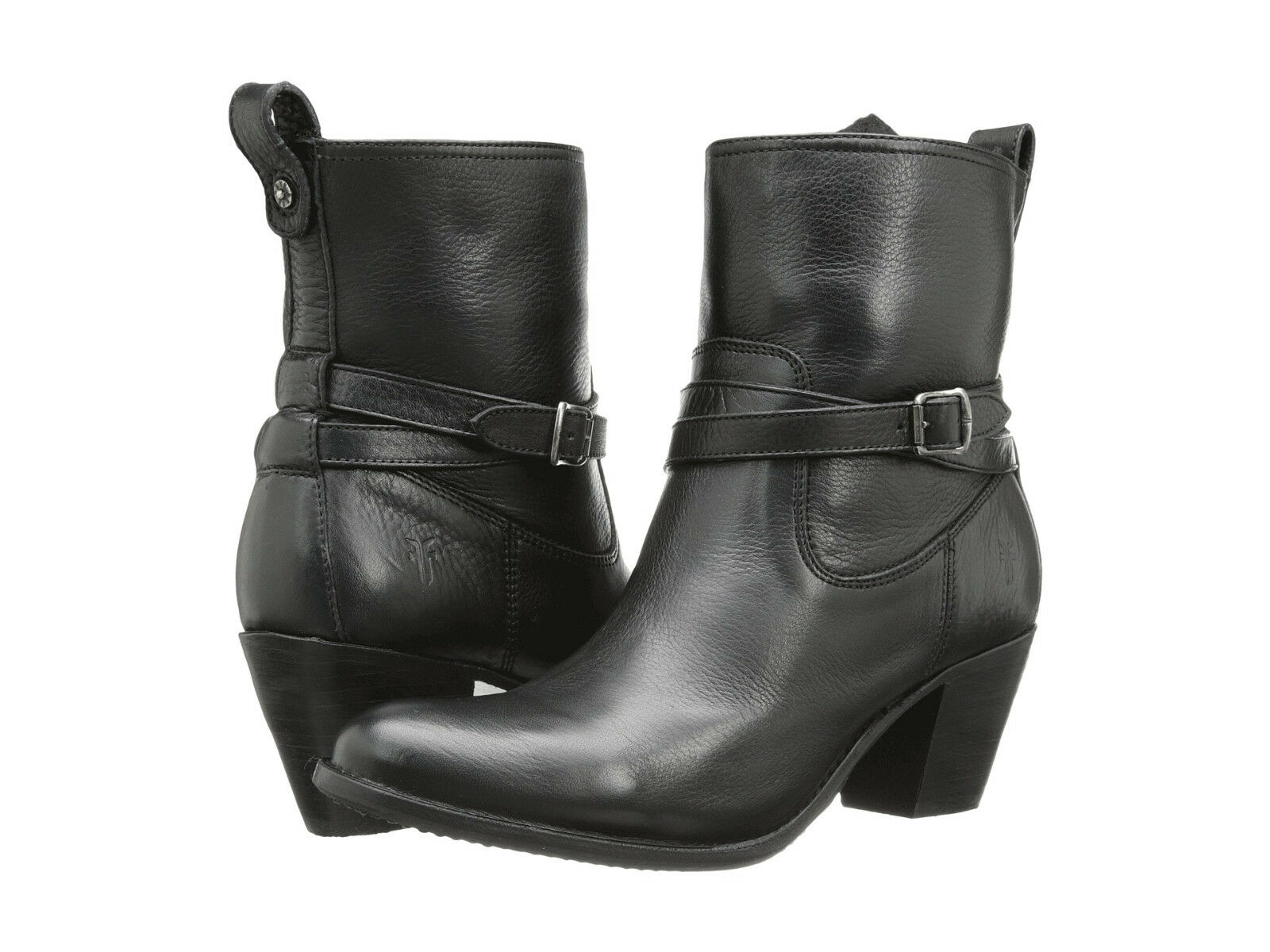 Women's Frye Boots Jackie Rivet Short ZipOn Black Leather 76291 BLK