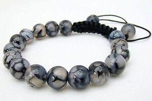 Men-039-s-Shambhala-bracelet-all-10mm-NATURAL-DRAGON-VEINS-AGATE-stone-beads