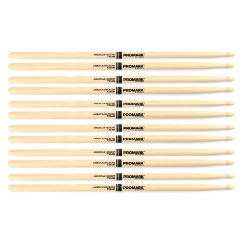 6 Pairs ProMark 5A Wood Tip Drum Sticks TX5AW Hickory Pro Mark