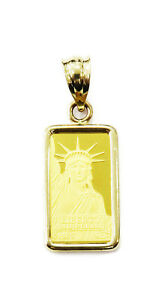 1-gram-24K-Gold-Credit-Suisse-Statue-of-Liberty-Bar-Necklace-Charm-Pendant-LLF