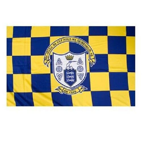 Large Crested Irish Gaelic Football Hurling Clare GAA Official 5 x 3 FT Flag