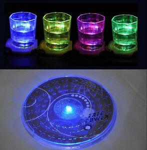 1stylish color changing led lights bottle cup mat coaster for image is loading 1 stylish color changing led lights bottle cup mozeypictures Choice Image