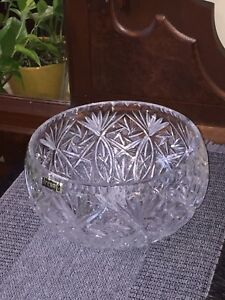 Large-Hand-Cut-24-Lead-Crystal-Bowl-Irena-Company-Poland-Intricate-Design