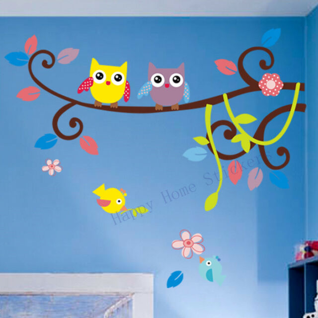 Wall Stickers Lovely Owls Animals and Birds Children's Room Nursery Decorations