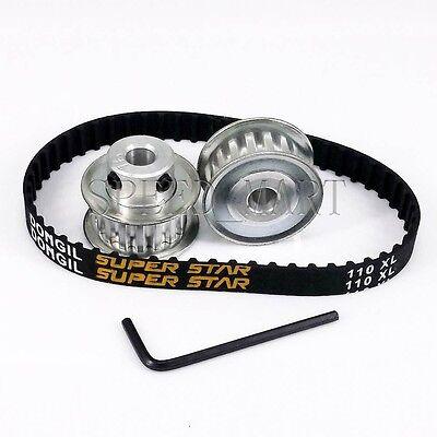 2pcs XL XL15 Timing Pulleys 15 Tooth 6.35mm Bore /& 110XL Belt for Stepper Motor