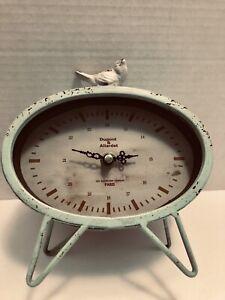 Dupont-amp-Allardet-Paris-Distressed-Light-Mint-Green-Bird-Clock-Works