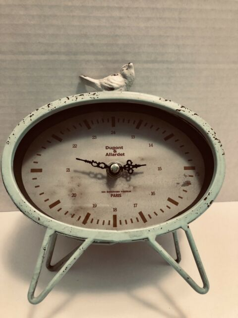 Dupont & Allardet Paris Distressed Light Mint Green Bird Clock Works