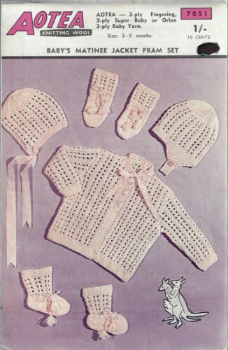 Baby Matinee Coat Hats Booties Mitts Aotea 7051 vintage knitting pattern 3 ply