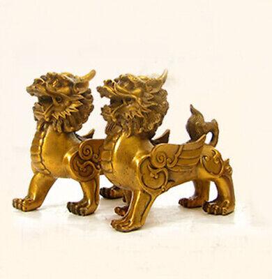 Kirin FengShui Bronze Brass Guardian Wealth PiXiu Brave troops Best Piar Statue