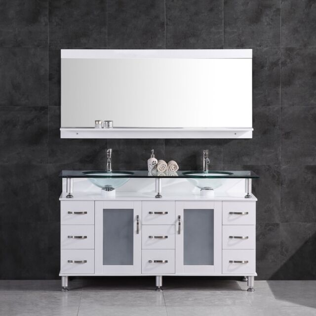 60 Bathroom Vanity Cabinet With Sink Glass Top And Mirror White By LessCare