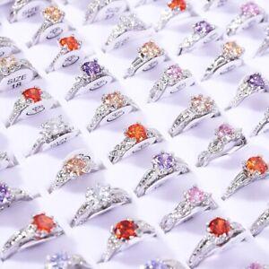 10Stk-Grosshandel-Ring-Gemischt-Strass-Kristall-Ringe-Rosegold-Hochzeit-Schmuck