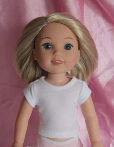 White T-Shirt fits 14inch American Girl Wellie Wishers Doll Clothes