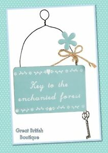 Sweet-Shabby-Chic-Small-Fairy-Sign-034-Key-to-The-Enchanted-forest-034-Sass-amp-Belle