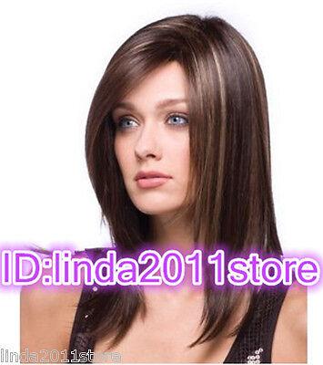New sexy Women's ladies Medium Long Mix Brown Natural Hair full wigs / wig cap