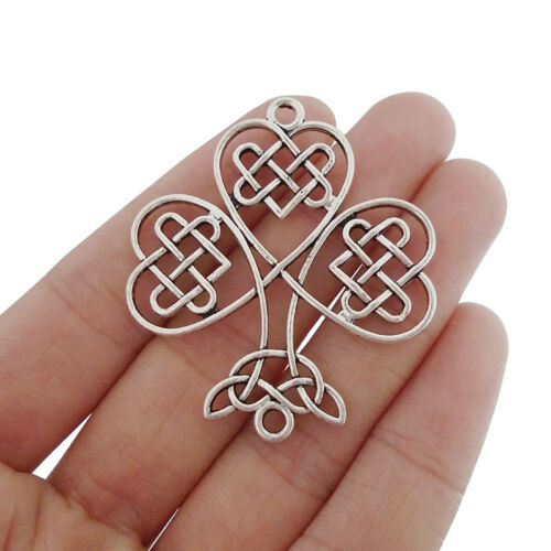 5 x Tibetan Silver Large Celtic knot Shamrock Connector Charms Pendants 46x41mm