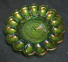 Vintage Indiana Green Carnival Glass Thousand Eyes Hobnail Deviled Egg Plate EUC
