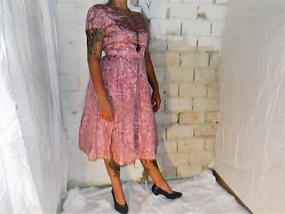 Donna Vestito Rockabilly Vestito 50er True Vintage Oktoberfest Rosa Antico Fiori Oktoberfest-mostra Il Titolo Originale