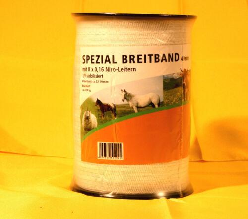 40 mm 0,067€//m 1200 m weiss 8xNiroleiter Weidezaun Breitband
