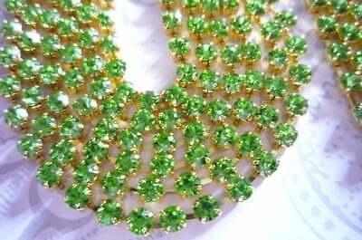 Sun Orange Czech Crystals 3mm Orange Rhinestone Chain Brass Setting