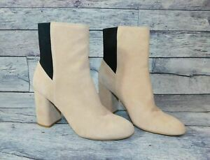 Dolce Vita Women Block Heel Booties Boots Light Taupe Suede And Black Size 9