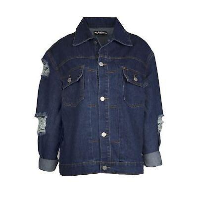 Ladies Womens Denim Button Destroyed Distressed Turn Up Sleeve Rip Pocket Jacket