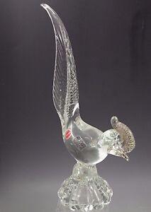 MURANO-GLASS-BIRD-ROADRUNNER-FIGURINE-CLEAR-GOLD-ORIG-LABEL-PITAU-32-MODERN