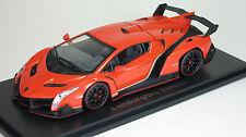 Kyosho 1/43 Lamborghini Veneno Diecast Replica 05571OR Orange /Red Line