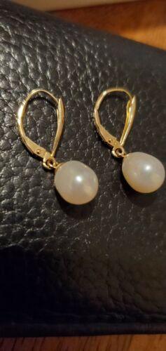 Vintage 14k Yellow Gold DANGLE PEARL EARRINGS