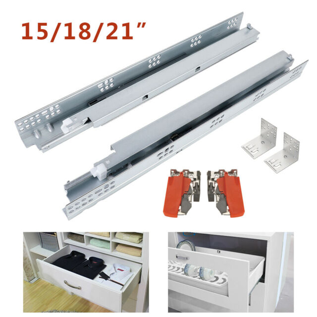 PAIRS CABINET UNDER MOUNTING CONCEALED FULL EXTENSION SOFT CLOSE DRAWER RUNNERS