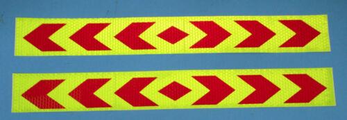 2 x adhesivo reflector-autoadhesivo amarillo flúor/rojo 40 x 5 cm #096