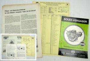 Solex-32-32-DDIST-Vergaser-Betriebsanleitung-Ersatzteilliste-Reparatur-Ford-20M