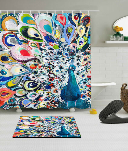 72x72/'/' Color Peacock Bathroom Shower Curtain Waterproof Fabric /& 12 Hooks