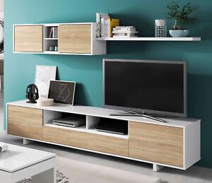 Detalles de Mueble salon comedor modular diseño nordico color blanco y  roble 200x41 cm