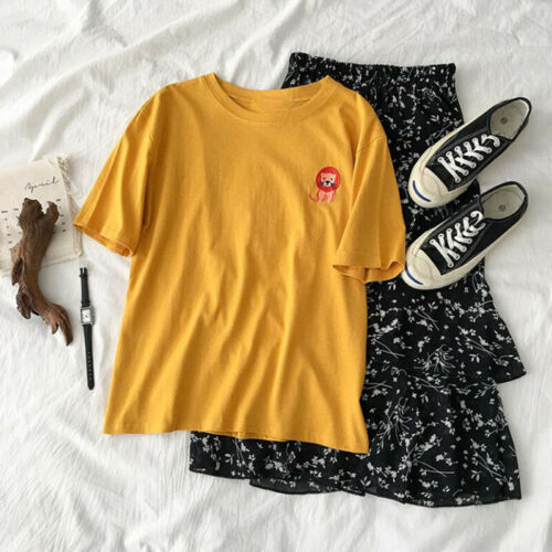 Animal Embroidery Tee Summer Womens Round Neck T Shirt Loose Slim Casual Tops TR