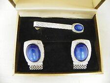 Vintage Swank Silvertone Wrap Mesh Cuff Links & Tie Bar  Blue Stone Original Box