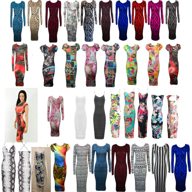 NEW Women Celeb Animal Stripe Print Long Sleeve Bodycon Midi Dress Party Casual