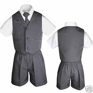 a191e6eda2a9 Baby Infant Toddler Formal Eton Dark Gray 4pc Vest Shorts Outfits ...