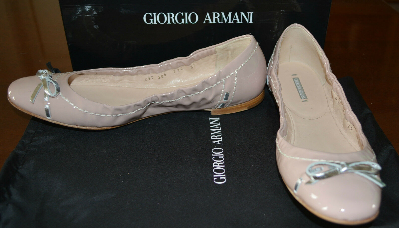 NIB GIORGIO PATENT ARMANI PATENT GIORGIO LEATHER FLATS SHOES  US 7 MADE IN ITALY $450 9a0309