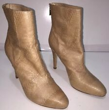 JIMMY CHOO Nude Python Snakeskin Leather Pointy Toe Ankle Boots Size 7.5  37 1/2