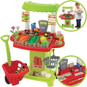 Marktstand Mit Einkaufstrolley Kaufladen Kaufmannsladen Tante Kinder Supermarkt Kleinkindspielzeug