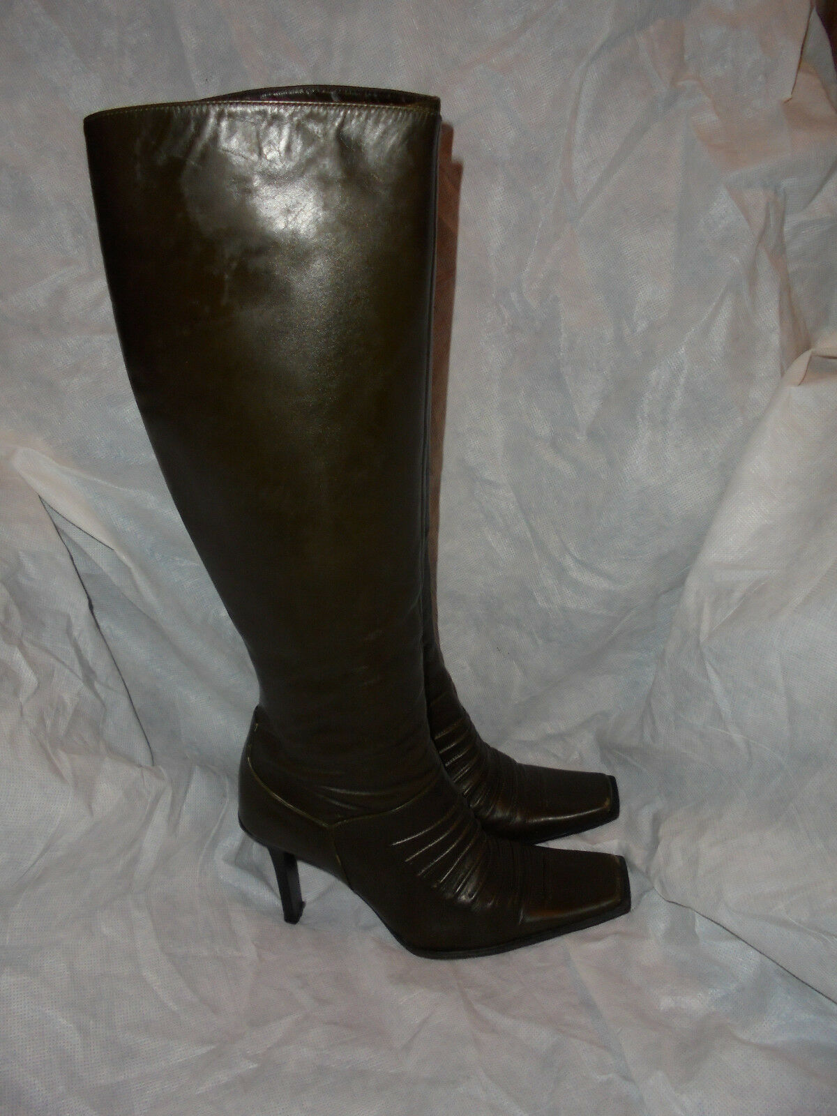 CASADEI WOMEN'S OLIVE LEATHER ZIP UP KNEE HIGH BOOT SIZE UK 4 EU 37 US 7 VGC