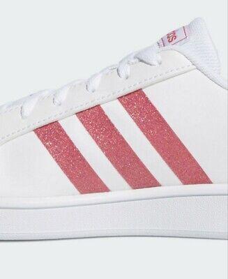 Adidas VL Court 2.0 K whitePink Glitter Big Kids sz 7(womens 8.59) NIB EG5136 | eBay